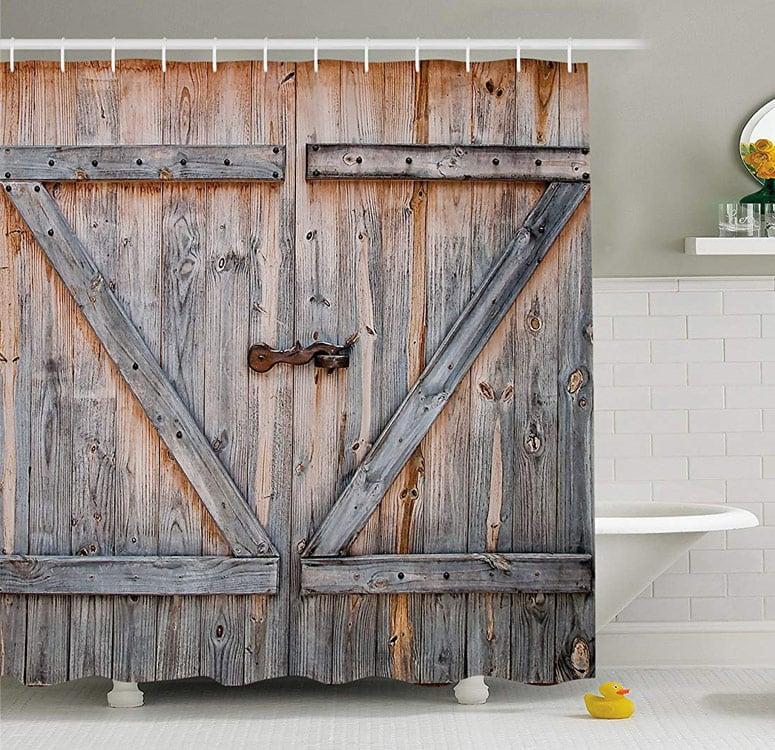barn door shower curtain
