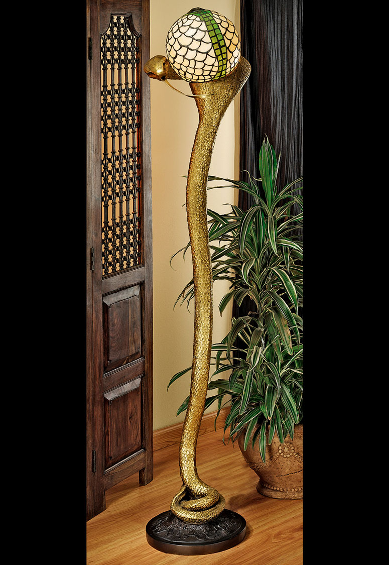 green kitchen chairs island with leaf cobra god wadjet - sculptural floor lamp the head