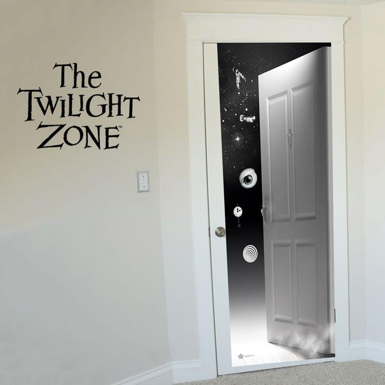 kitchen wall phones fluorescent lighting ideas doorway to the twilight zone door decal - green head