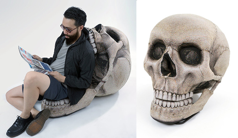 skull chair swivel chairs outdoor giant with movable jaw