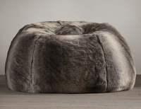 Grand Luxe Faux Wolf Fur Bean Bag Chair - The Green Head