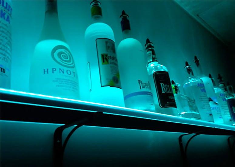 illuminated liquor bottle shelf