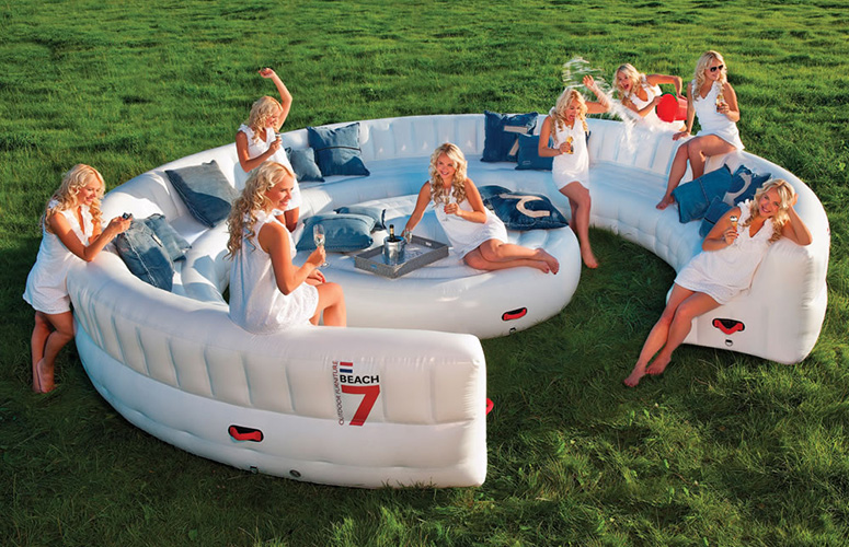 intex inflatable chairs ethan allen dining room massive outdoor party sofa seats 30 guests