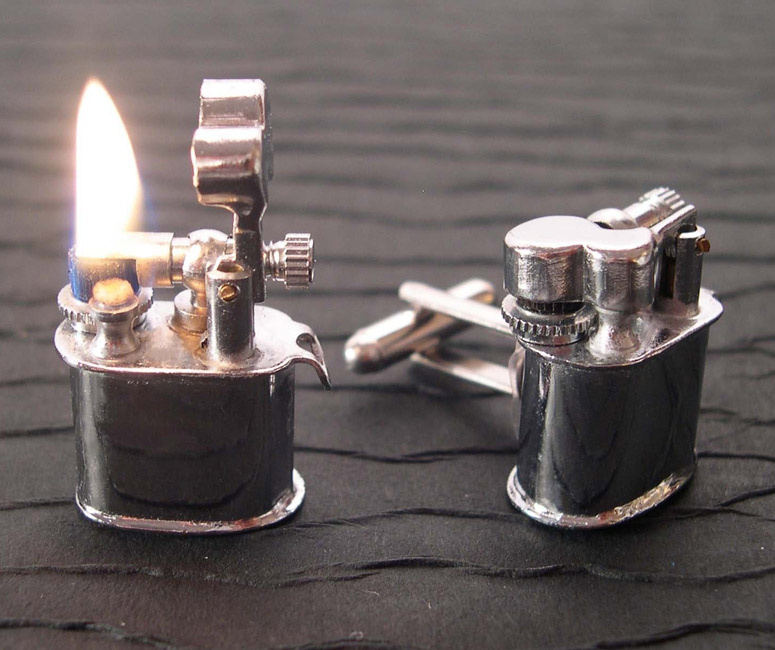 Real Working Vintage Lighter Cufflinks  The Green Head