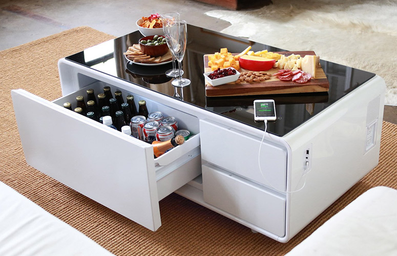 sobro smart coffee table w fridge