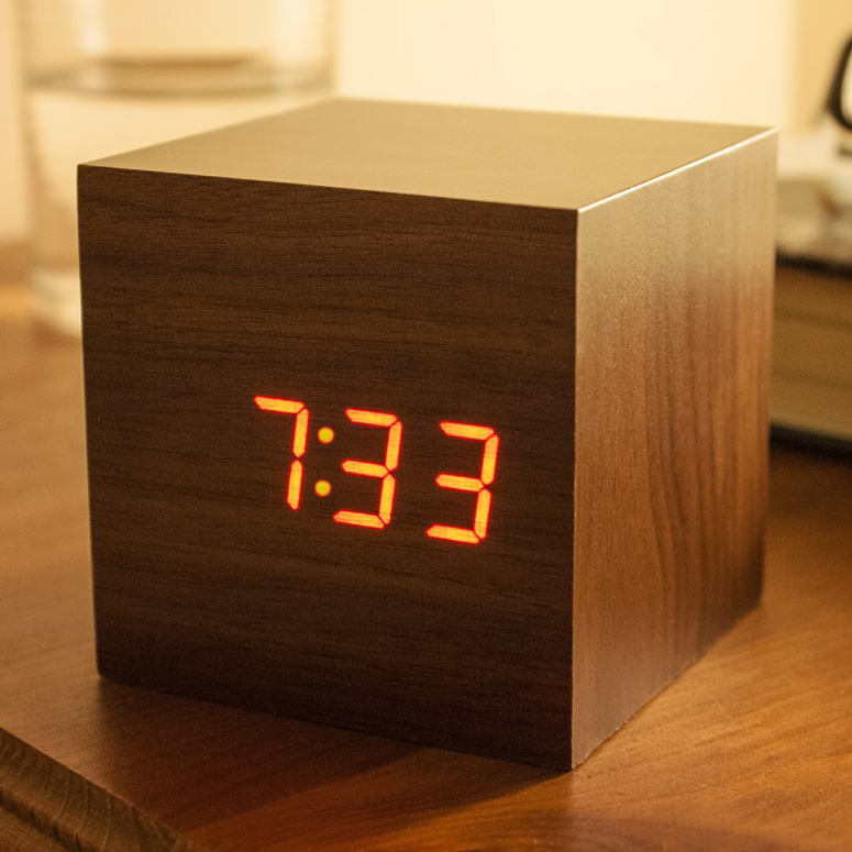 SoundActivated Wooden Cube Clock  The Green Head