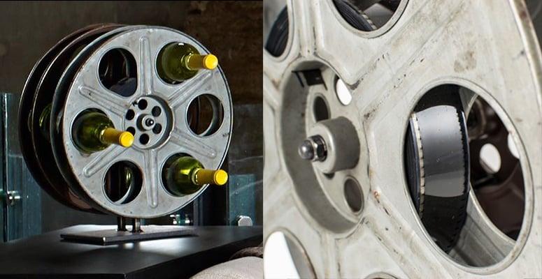 Vintage Film Reel Wine Rack  The Green Head
