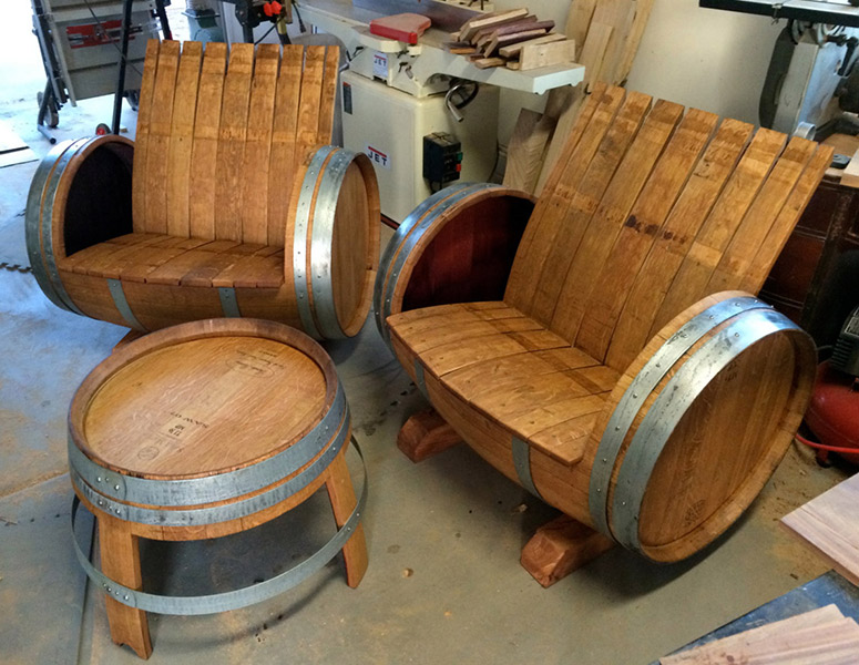 wine barrel chair chairs with footrests and table