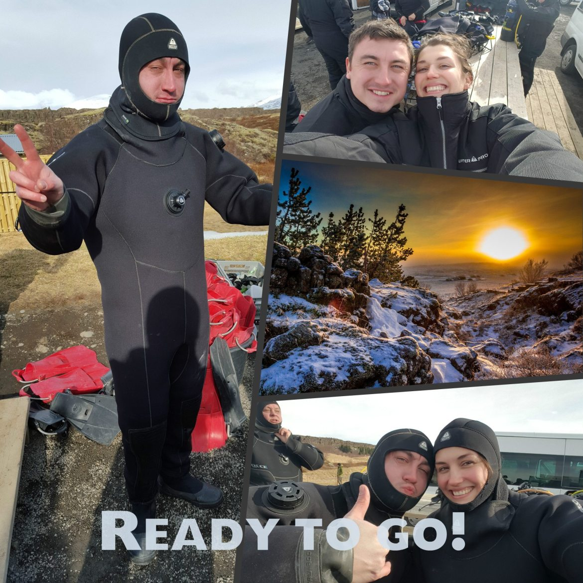 diving in silfra dressing up dry suit iceland