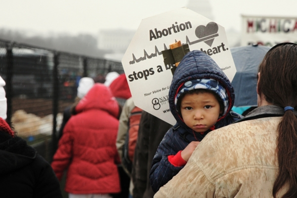 Benedictine College marchers mourn for the unborn.