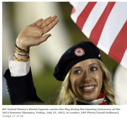 Mariel Zagunis, two-time Olympic gold medalist in fencing, led U.S. athletes in the Parade of Nations. She once said