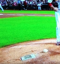 The cross on the Cardinals' mound.