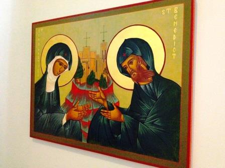 5. Benedictine College chaplain Father Brendan Rolling, OSB, wrote this icon of Sts. Benedict and Scholastica and St. Benedict's Abbey.