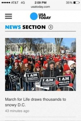 USA Today featured a photo of Benedictine College students in its coverage of the March for Life.
