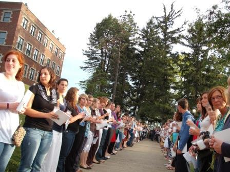 Lining up for the procession on Sept. 8, 2009. (Photo by Brother Benedict)