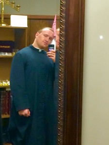 Roberts posted this picture on Facebook of the first time he wore a cassock.