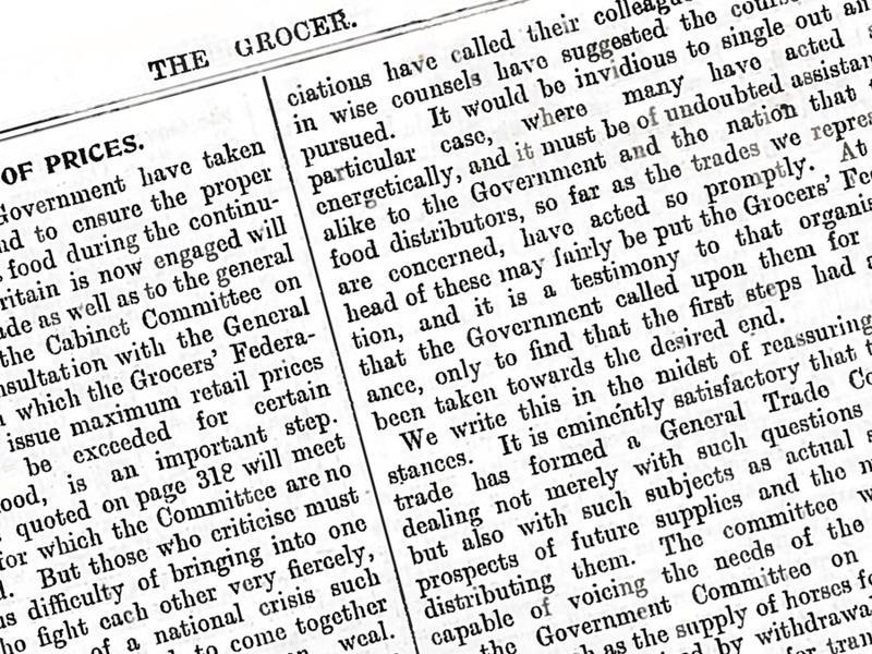 World War I: The Grocer's editorial on the outbreak of war