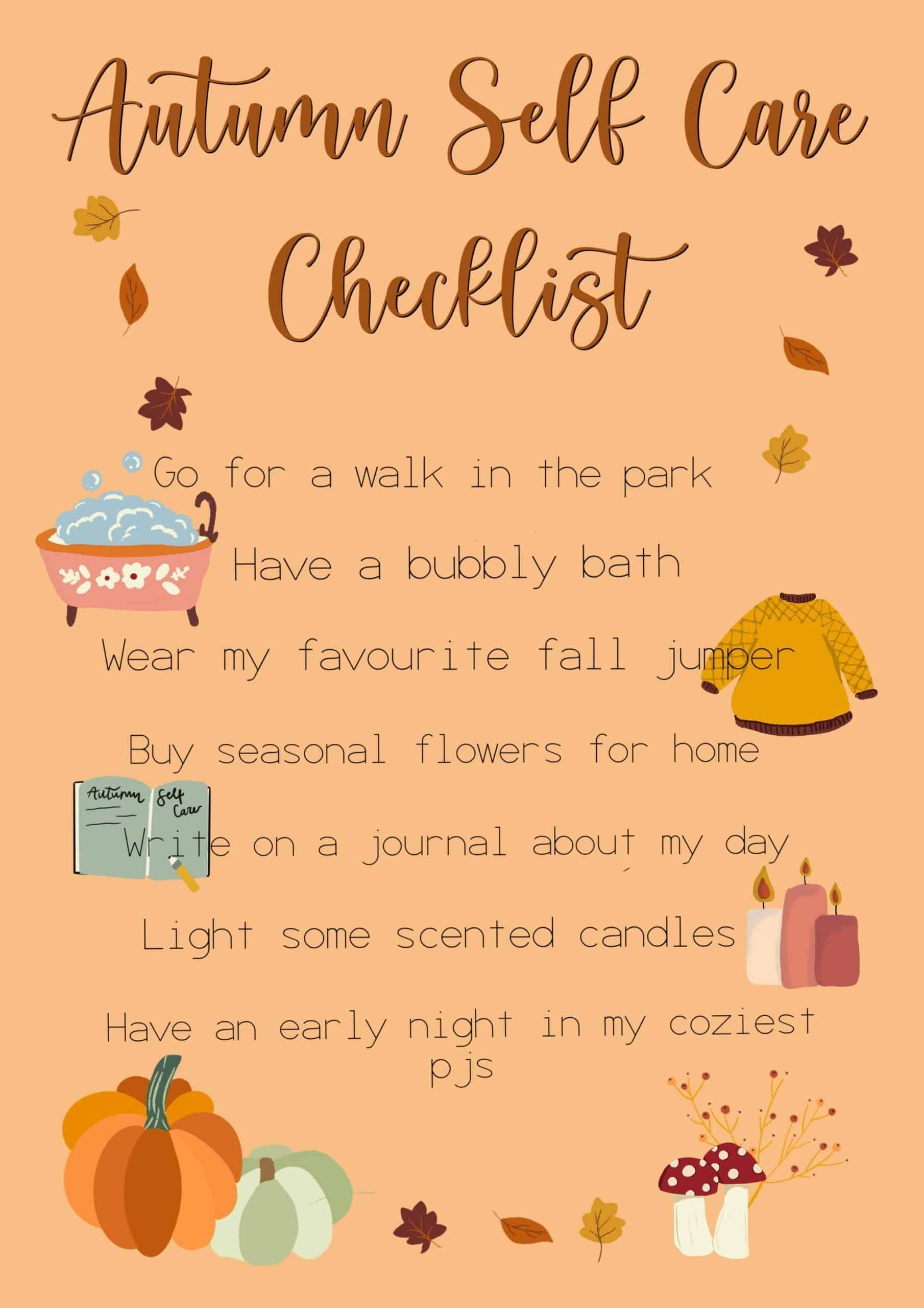 Autumn Self Care Checklist