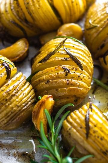 Rosemary Roasted Potatoes in a baking tray