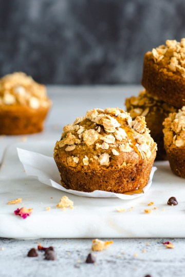 Coffee Choco Chip Muffins in a stack