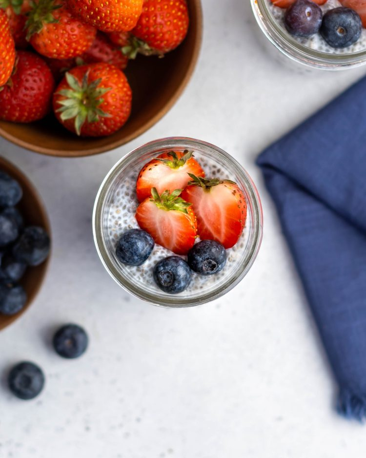 chia pudding in glass jars