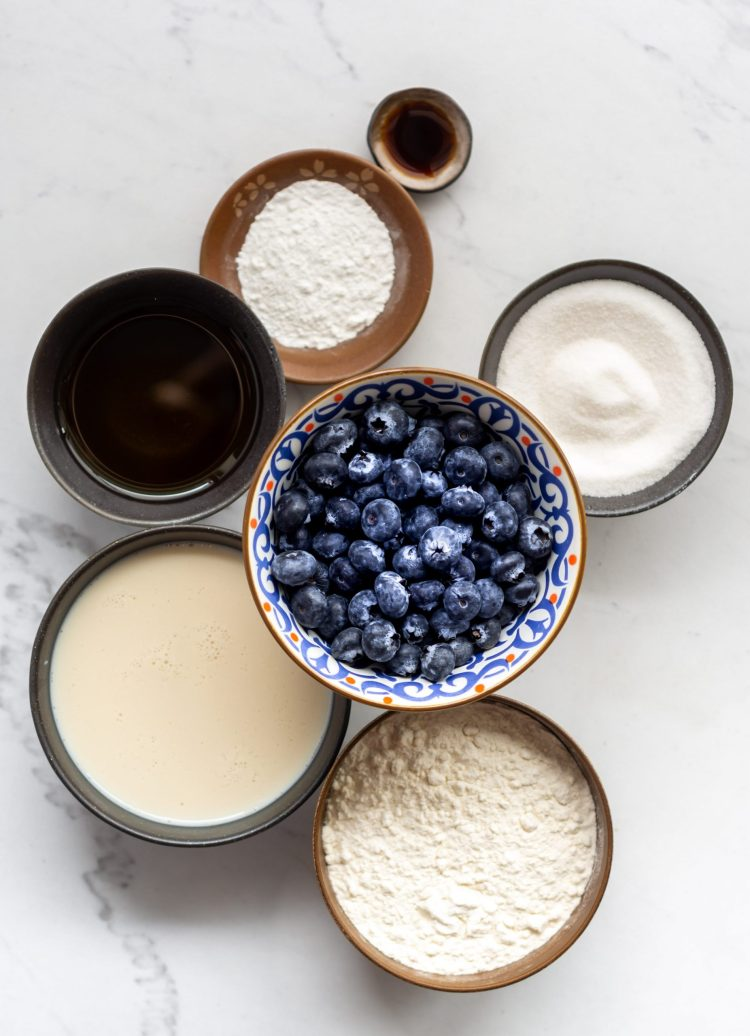 ingredients for vegan blueberry muffins