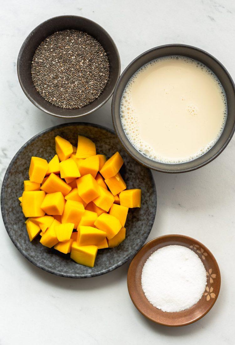 ingredients for mango chia pudding