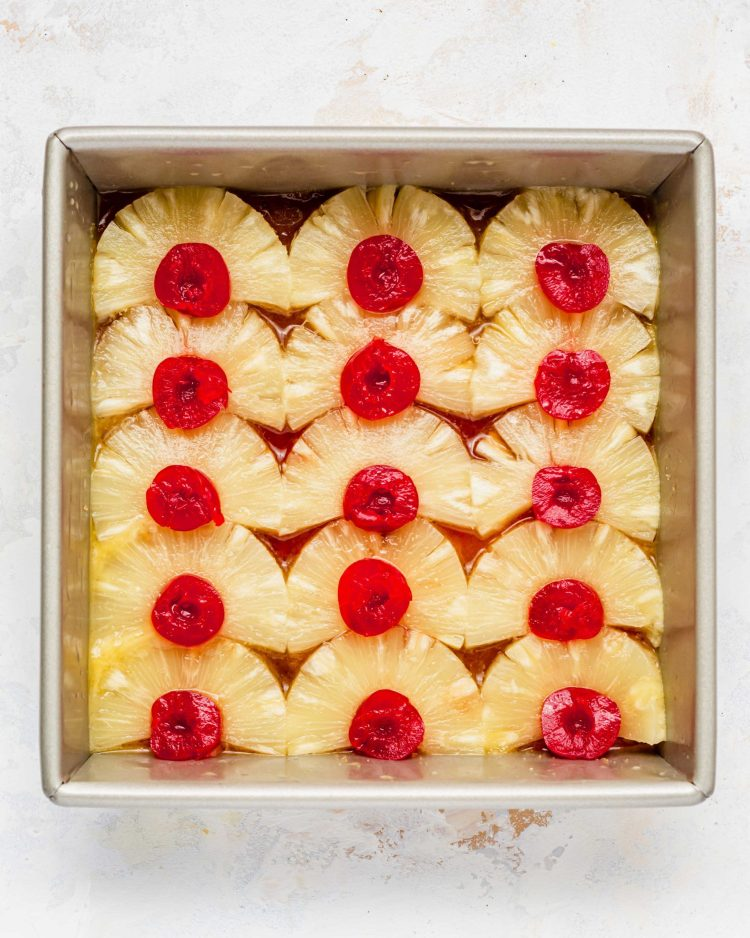 pineapples placed on baking tray for pineapple cake