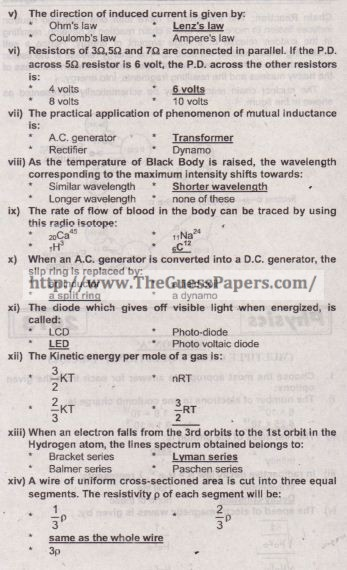 Physics Solved Past Paper 2nd year 2013 Karachi Board