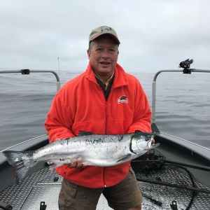 John Strohecker of Portland with a quality ocean coho from Garibaldi (7/29/18).