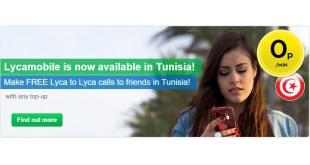 Les tarifs d'appels, sms et Data de Lycamobile Tunisie