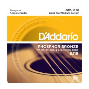 D'Addario EJ19 Phosphor Bronze Acoustic Guitar Strings, Bluegrass, 12-56
