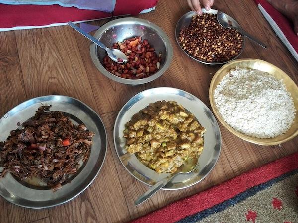 Gundruk ko achaar, bhatmaas, chiura, baadam, and aalu ko achaar