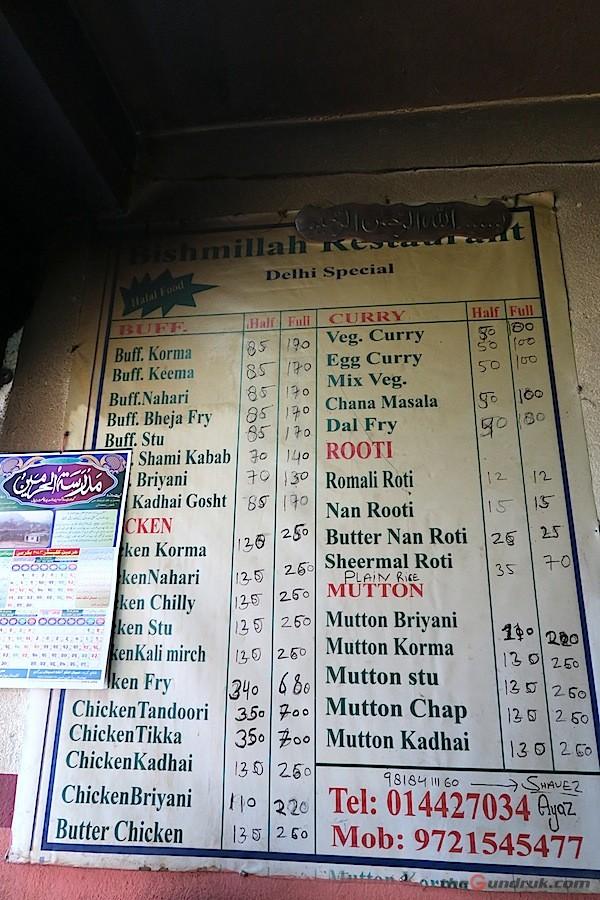 Muslim food menu at Bishmillah Restaurant in Thamel Muslim Tole- assimilates to local food culture by adopting buff