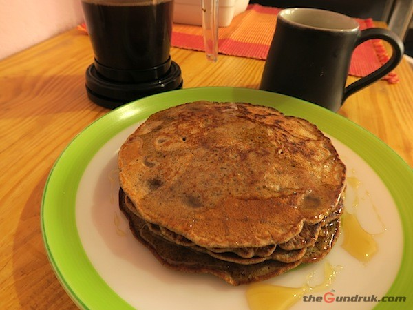 Super-nutritious Buckwheat and Millet pancake with flaxseed, and freshly brewed home-roasted coffee