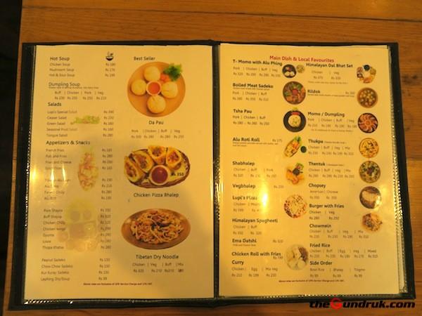 menu Lupis Himalayan Bistro