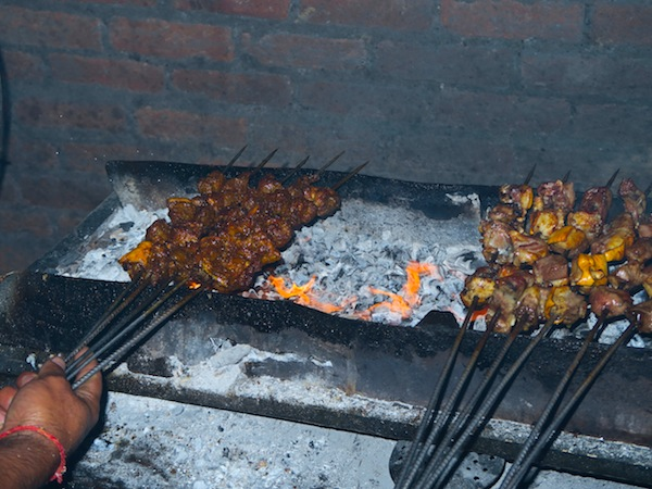 barbecuing meat