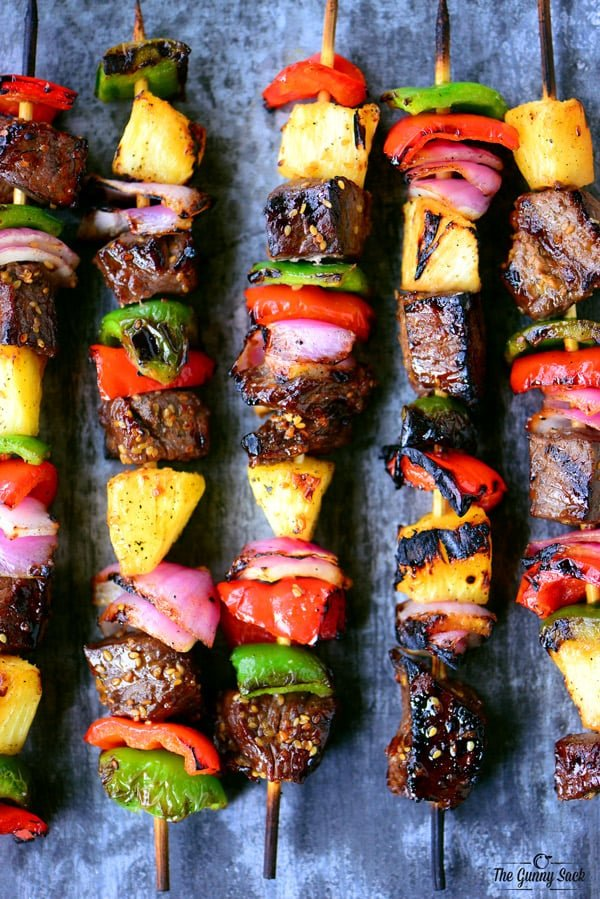 "Grilled Hawaiian Steak Kabobs Recipe | The Gunny Sack ""Grilled Hawaiian Steak Kabobs with tender steak, sweet pineapple, and grilled veggies are so easy to make. Summer meals should always be this delicious!"""