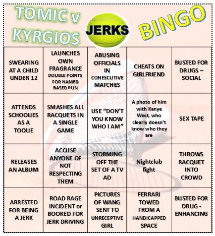 Tennis Jerk Bingo