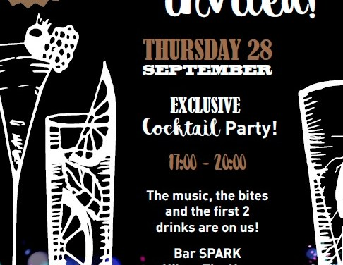 Invitation to exclusive cocktail party at Bar  Spark