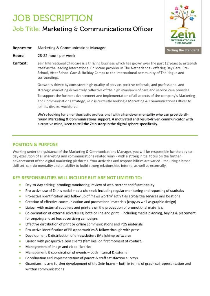 Job Vacancy Zein International Childcare Marketing Communications
