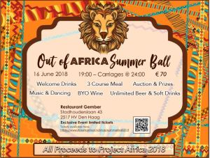 Out of Africa Summer Ball - in support of BSN Project Africa @ Restaurant Gember