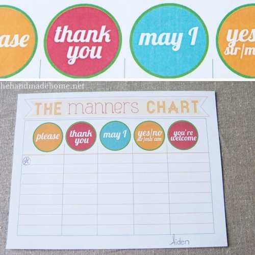 manners + printables