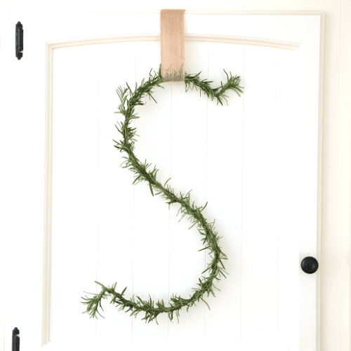 diy rosemary letter wreath
