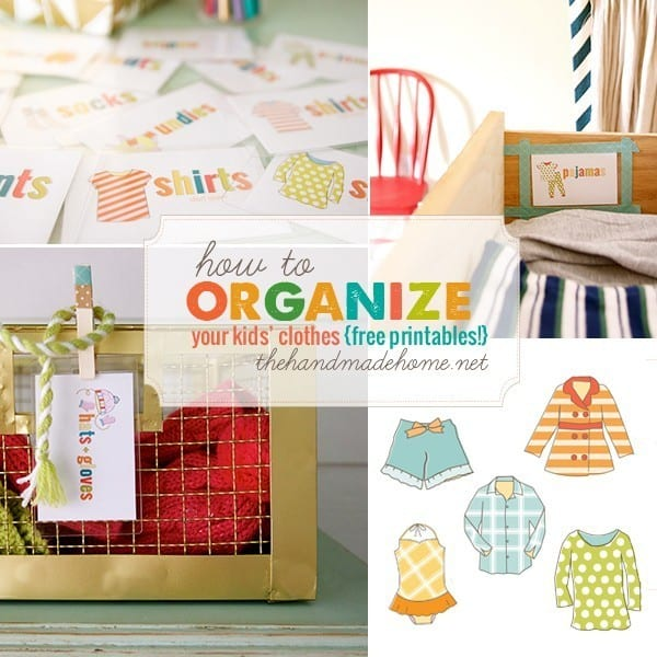 Organize kids' clothes - adding sweet labels help kids know where to find their clothes when getting dressed or putting clothes away.