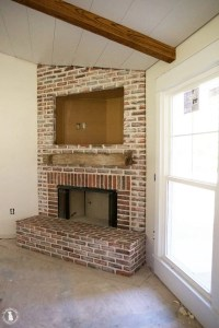 how to mortar rub brick {on a fireplace} - the handmade home