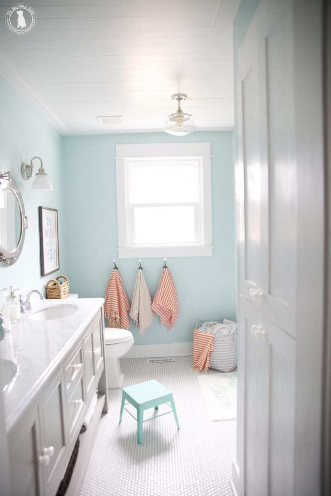 how to shiplap your ceilings - bathrooom after