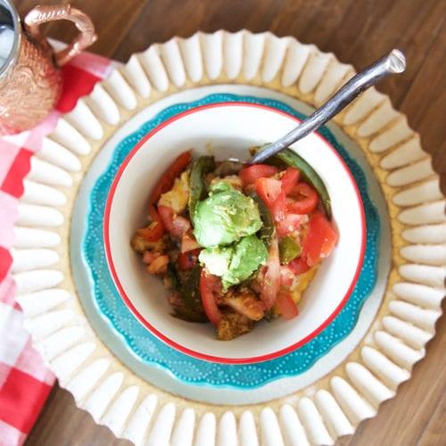 cheesy chicken and rice burrito bowl