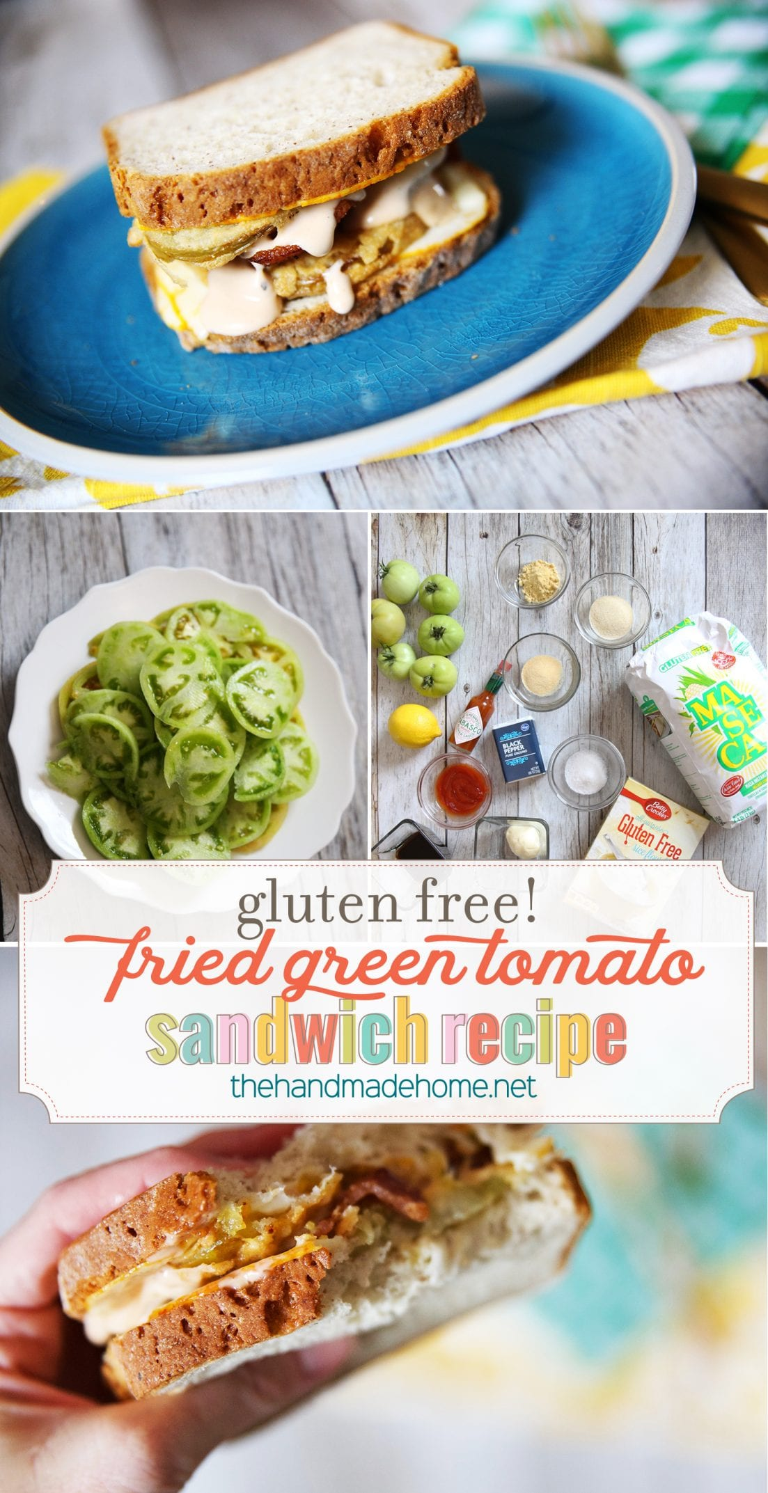 Gluten free sandwich {fried green tomato with comeback sauce}