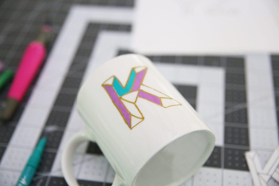 diy monogram coffee mugs